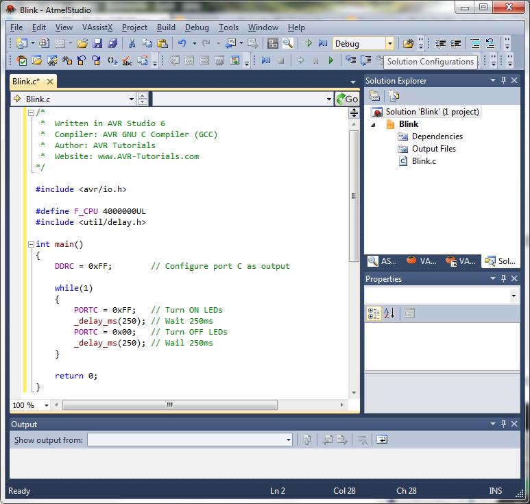 AVR Studio 6 BlinkCode
